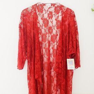 Lularoe Shirley Size L Red Lace Kimono Duster NWT